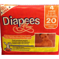 DIAPEES PLUS Diapers Large/20ct